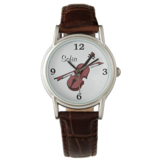 Violin Viola Music Name Monogram White Face Watch