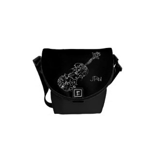 Violin White Line Drawing, Customizable Initials Commuter Bag