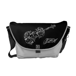 Violin White Line Drawing, Customizable Initials Messenger Bags