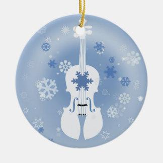 Violin Winter Christmas Ornament