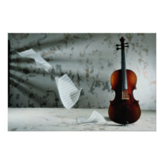 Violin with music sheets floating poster