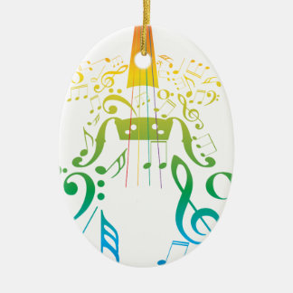 Violin with Notes 2 Ceramic Ornament