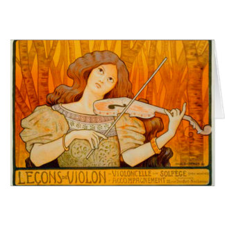 Violinist Art Nouveau Greeting Card