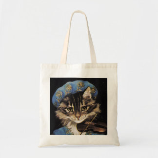 Violinist Cat With Blue Hat Tote Bag
