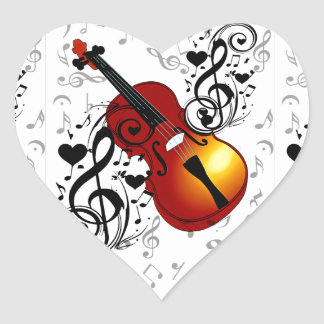 Violinist,Rock the House_ Heart Sticker