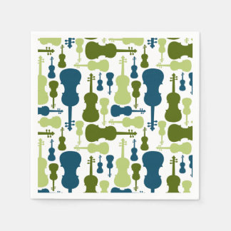 Violins - Blue and Green Pattern Paper Napkin