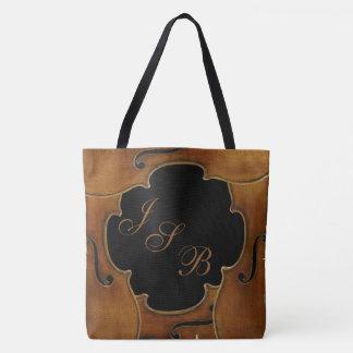 Violins Framing Custom Monogram on Black Lotus Tote Bag