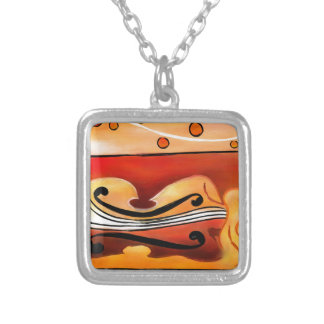 Vioselinna - violin backed beauty silver plated necklace