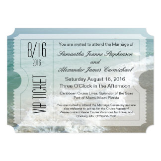 VIP Beach Destination Wedding Ticket Invitation