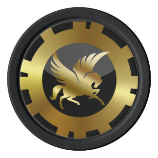 VIP Golden Pegasus black and gold Poker Chips