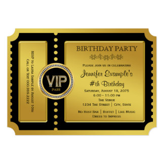 VIP Golden Ticket Birthday Party 13 Cm X 18 Cm Invitation Card