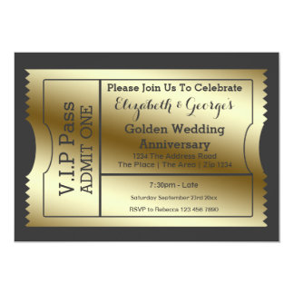 VIP Pass Golden Wedding Anniversary Ticket 13 Cm X 18 Cm Invitation Card