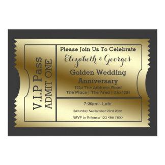VIP Pass Golden Wedding Anniversary Ticket Invitations