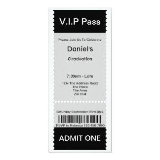 VIP Pass Graduation Party Admission Ticket 10 Cm X 24 Cm Invitation Card