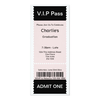 VIP Pass Graduation Party Admission Ticket Custom Announcement