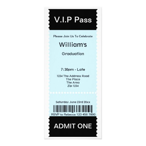 VIP Pass Graduation Party Admission Ticket Personalized Announcements