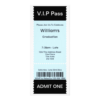 VIP Pass Graduation Party Admission Ticket Personalized Announcement
