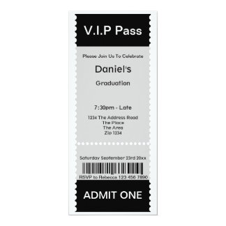 VIP Pass Graduation Party Admission Ticket Custom Invite