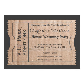 VIP Pass House Warming Cardboard Themed Ticket Card