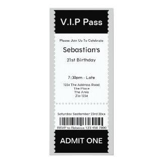 VIP Pass Party Admission Ticket 10 Cm X 24 Cm Invitation Card
