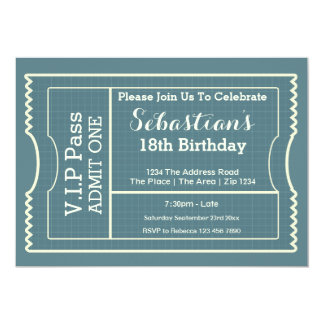 VIP Pass Party Admission Ticket 13 Cm X 18 Cm Invitation Card