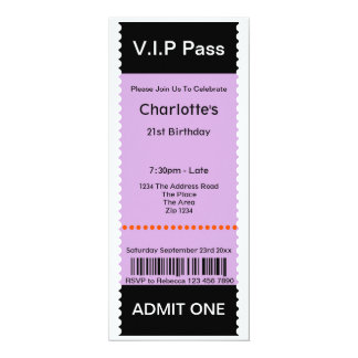 VIP Pass Party Admission Ticket Card