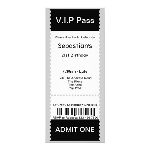VIP Pass Party Admission Ticket Custom Announcement