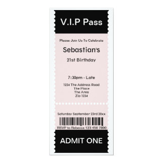 VIP Pass Party Admission Ticket Custom Announcements