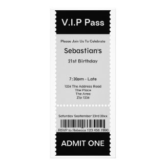 VIP Pass Party Admission Ticket Custom Invite