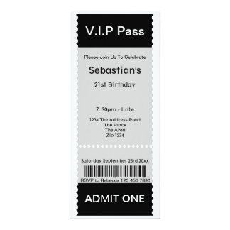 VIP Pass Party Admission Ticket Custom Invite