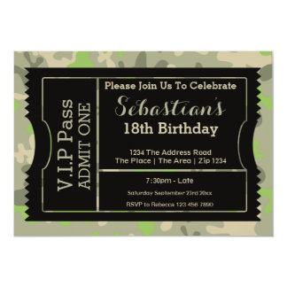 VIP Pass Party Admission Ticket Military Themed Invite