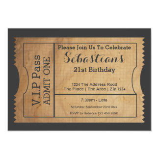 VIP Pass Party Admission Ticket Old Paper Style 13 Cm X 18 Cm Invitation Card