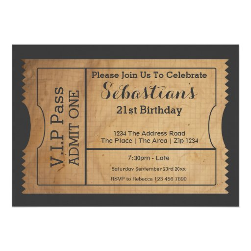 VIP Pass Party Admission Ticket Old Paper Style Personalized Invite