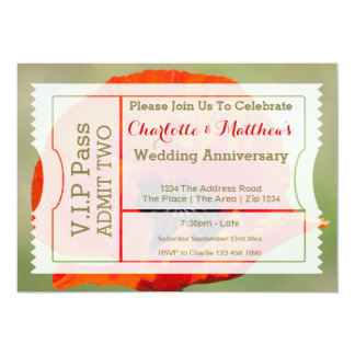 VIP Pass Party Admission Ticket Poppy Flower Custom Invitations