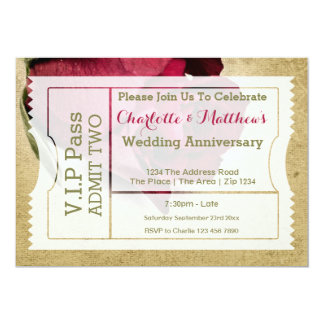 VIP Pass Party Admission Ticket Red Rose 13 Cm X 18 Cm Invitation Card