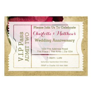 VIP Pass Party Admission Ticket Red Rose Custom Invitations