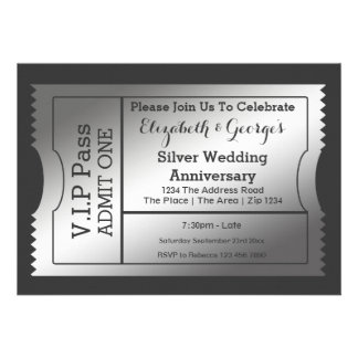VIP Pass Silver Wedding Anniversary Ticket Personalized Invites