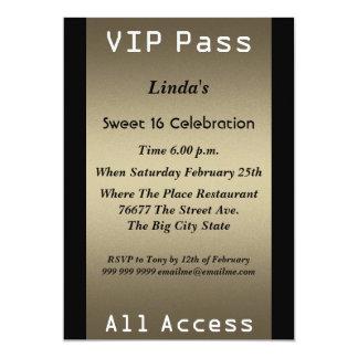 VIP pass Sweet 16 Birthday Party 13 Cm X 18 Cm Invitation Card