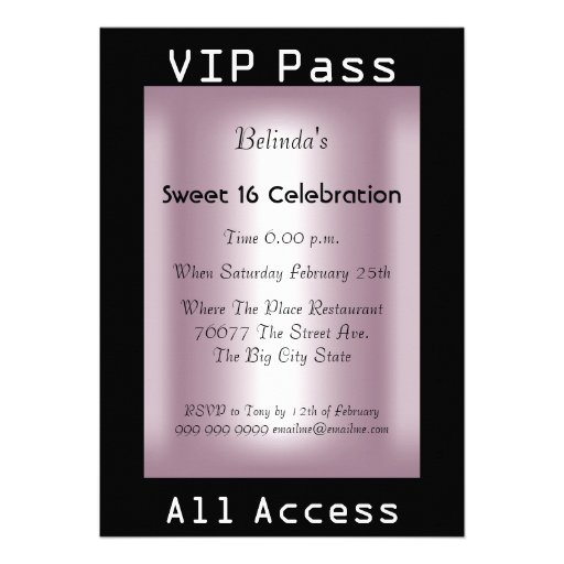 VIP pass Sweet 16 Birthday Party Black Pink Custom Invitation