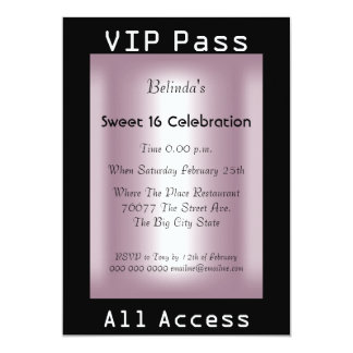 "VIP pass Sweet 16 Birthday Party Black Pink 5"" X 7"" Invitation Card"