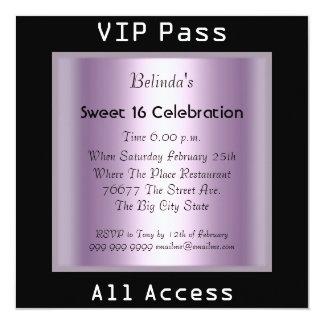 VIP pass Sweet 16 Birthday Party Black Purple 13 Cm X 13 Cm Square Invitation Card