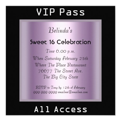VIP pass Sweet 16 Birthday Party Black Purple Personalized Announcement