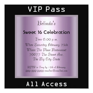 "VIP pass Sweet 16 Birthday Party Black Purple 5.25"" Square Invitation Card"