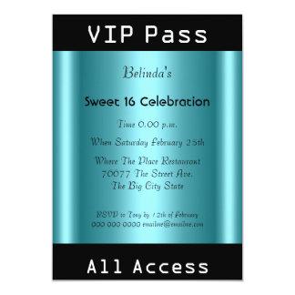 VIP pass Sweet 16 Birthday Party Black Teal 13 Cm X 18 Cm Invitation Card
