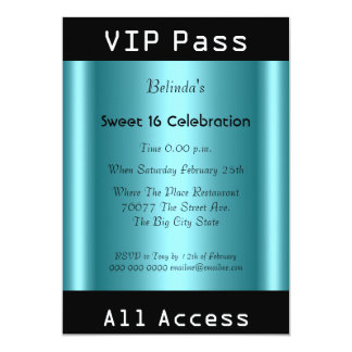 VIP pass Sweet 16 Birthday Party Black Teal Personalized Announcement