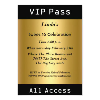 VIP pass Sweet 16 Birthday Party Gold Personalized Invites