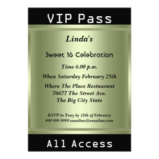 VIP pass Sweet 16 Birthday Party Personalized Announcements