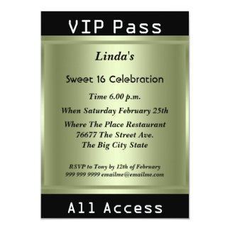 "VIP pass Sweet 16 Birthday Party 5"" X 7"" Invitation Card"