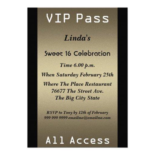 VIP pass Sweet 16 Birthday Party Custom Announcements