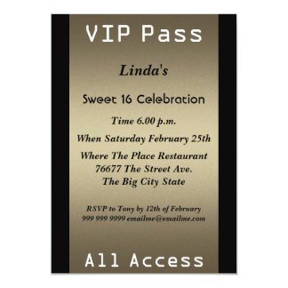 VIP pass Sweet 16 Birthday Party Custom Announcements
